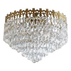 Italian Art Deco Crystal Waterfall Ceiling Light Gilt Brass Frame, 1930-1939