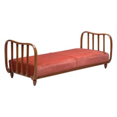 Italian Art Deco Daybed with Coral Upholstery, 1940s