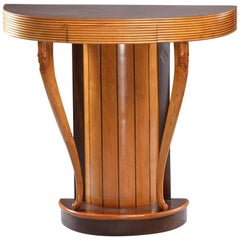 Italian Art Deco Demilune Console with Reeded Edge