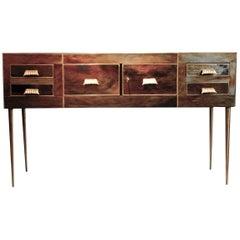 Italian Art Deco Design Console 1970-1980 Murano Glass with Brass Details