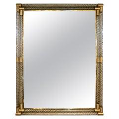 Italian Art Deco Design Twisted Gray Smoked Murano Glass & Gold Brass Mirror