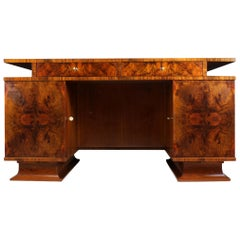 Italian Art Deco Desk in Walnut