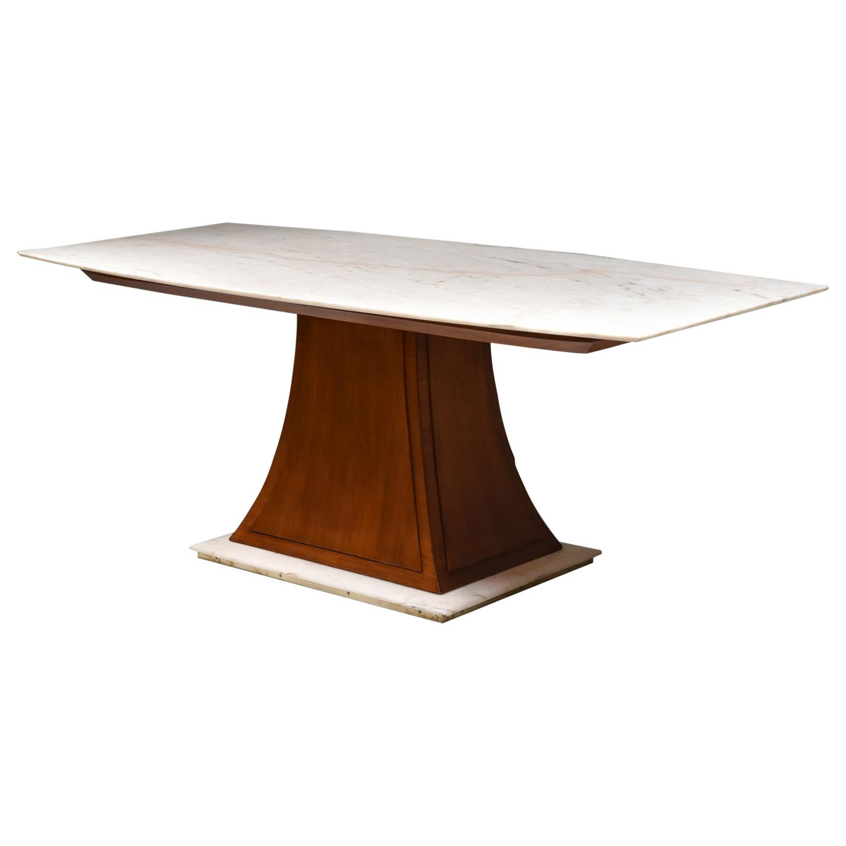 Italian Art Deco Dining Table with Marble Top Japan Inspired