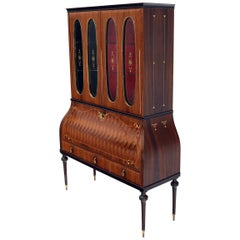 Italian Art Deco Drop Front Liquor Rosewood Cabinet Marquetry Inlay Oval Glass