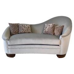Italian Art Deco Grey Velvet and Macassar Sofa, 1950s