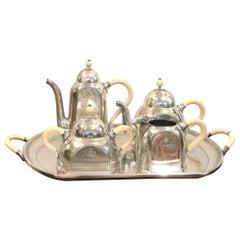 Italian Art Deco Hotel Silver Plate Ocean Liner Tea Coffe Set