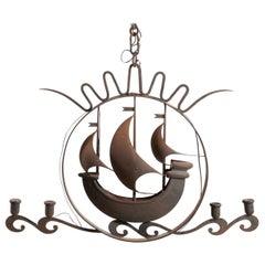Italian Art Deco Iron Nautical Chandelier Attributed to Gio Ponti