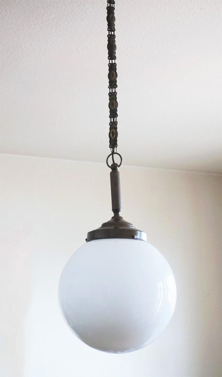 Burnished Italian Art Deco large Hand Blown Opaline Glass Ball Pendant, 1930-1939 For Sale