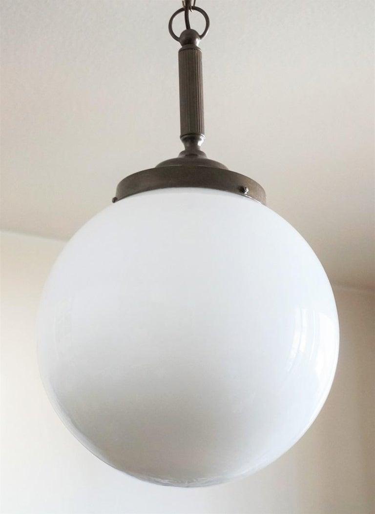 Brass Italian Art Deco large Hand Blown Opaline Glass Ball Pendant, 1930-1939 For Sale
