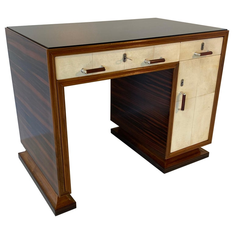 Italian Art Deco Macassar, Parchment and Black Opaline Desk, 1940s For Sale