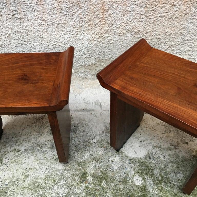 Italian Art Deco Mahogany Wood Tray Tables or Stools, 1930s 9