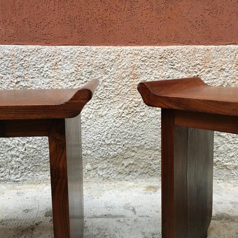 Italian Art Deco Mahogany Wood Tray Tables or Stools, 1930s 10