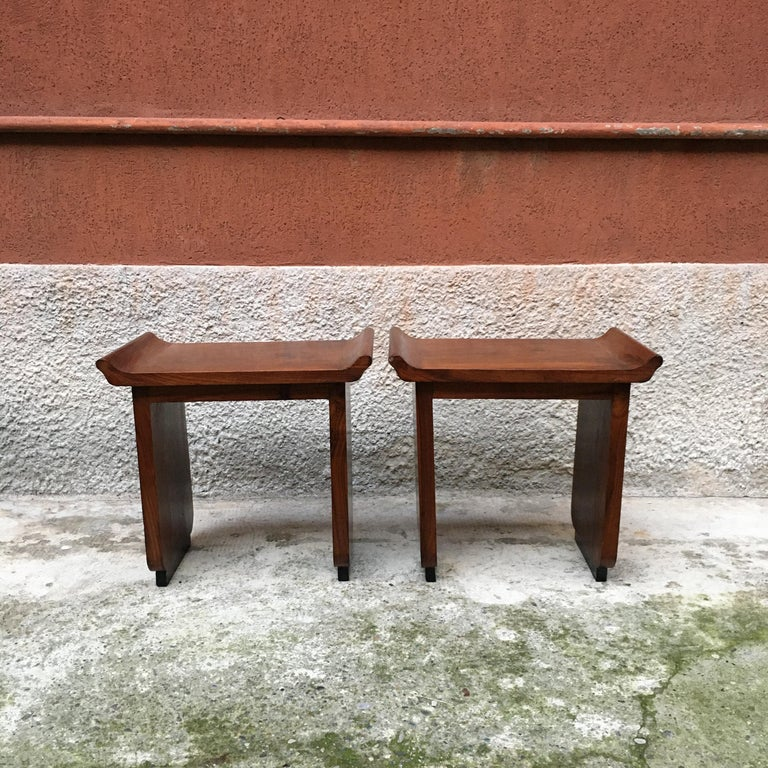 Italian Art Deco Mahogany Wood Tray Tables or Stools, 1930s In Excellent Condition In MIlano, IT