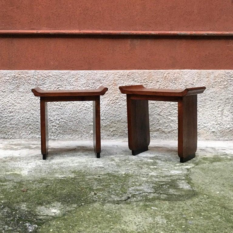 Mid-20th Century Italian Art Deco Mahogany Wood Tray Tables or Stools, 1930s