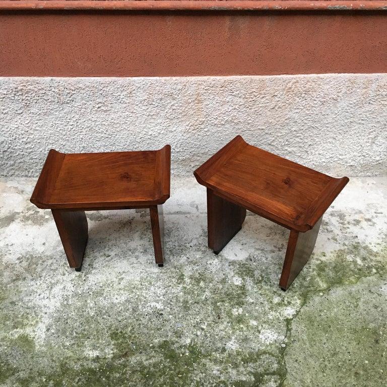 Italian Art Deco Mahogany Wood Tray Tables or Stools, 1930s 1