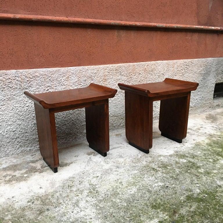 Italian Art Deco Mahogany Wood Tray Tables or Stools, 1930s 2