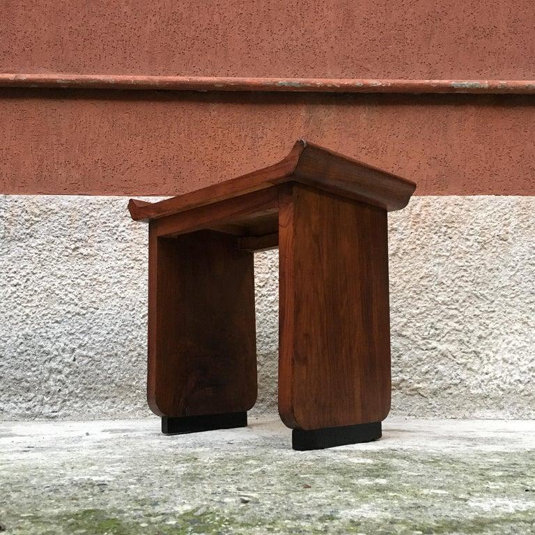 Italian Art Deco Mahogany Wood Tray Tables or Stools, 1930s 5