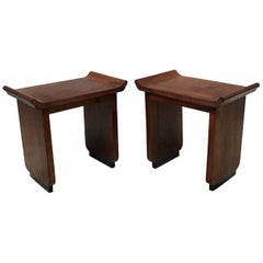Italian Art Deco Mahogany Wood Tray Tables or Stools, 1930s
