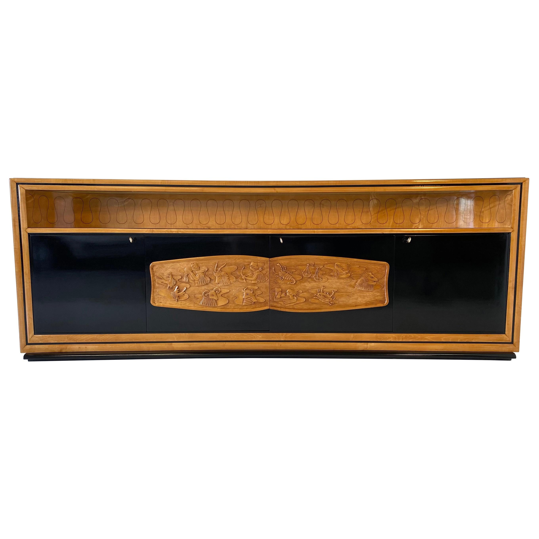 Italian Art Deco Maple and Black Lacquered Sideboard by Vittorio Dassi, 1940s