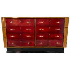 Italian Art Deco Maple and Red Parchment Dresser, 1940s