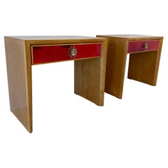 Italian Art Deco Maple and Red Parchment Nightstands, 1950s