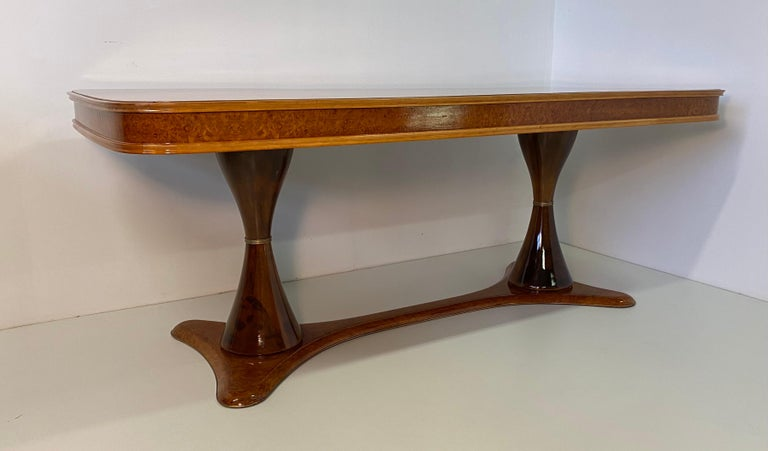 Italian Art Deco Maple Briar and Walnut Dining Table, 1940s In Good Condition For Sale In Meda, MB