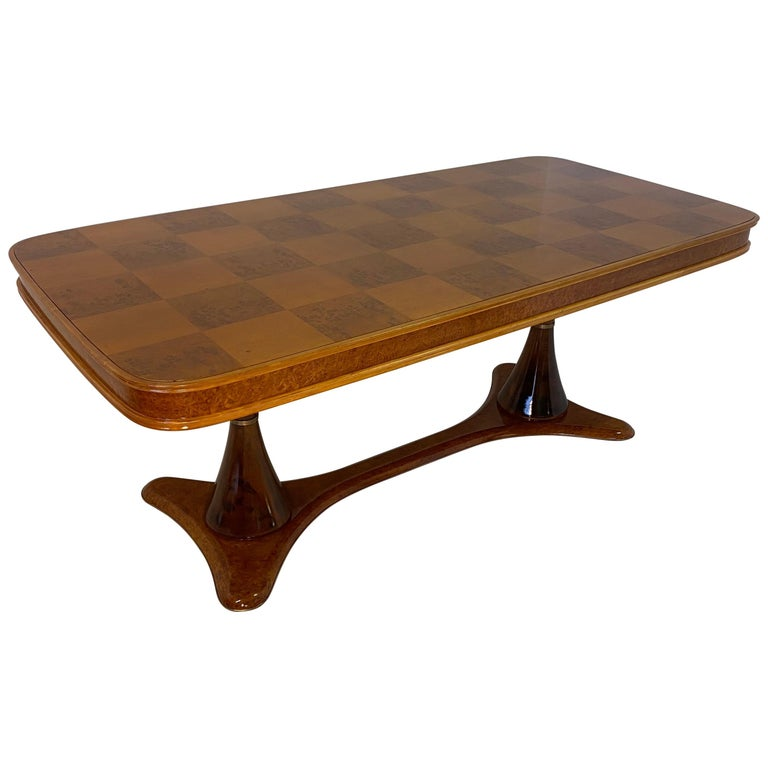 Italian Art Deco Maple Briar and Walnut Dining Table, 1940s For Sale