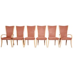 Italian Art Deco Maple Dining Chairs With Suede Upholstery