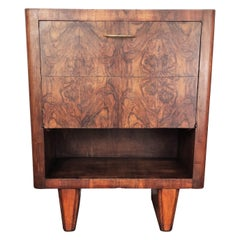 Italian Art Deco Midcentury Regency Burl Wood and Mirror Mosaic Dry Bar Cabinet