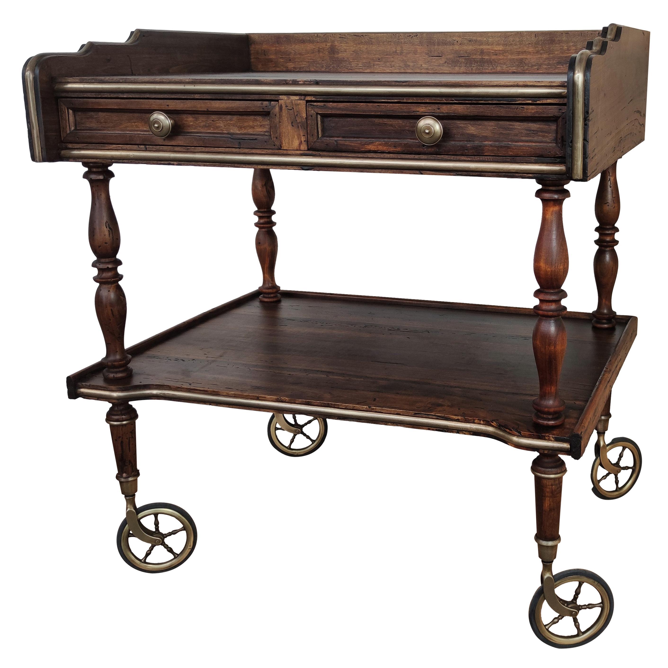 Italian Art Deco Midcentury Regency Wood and Brass Two-Tier Dry Bar Cabinet Cart