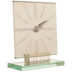 Italian Art Deco Mirror Clock in a Heavy Cut Crystal Base
