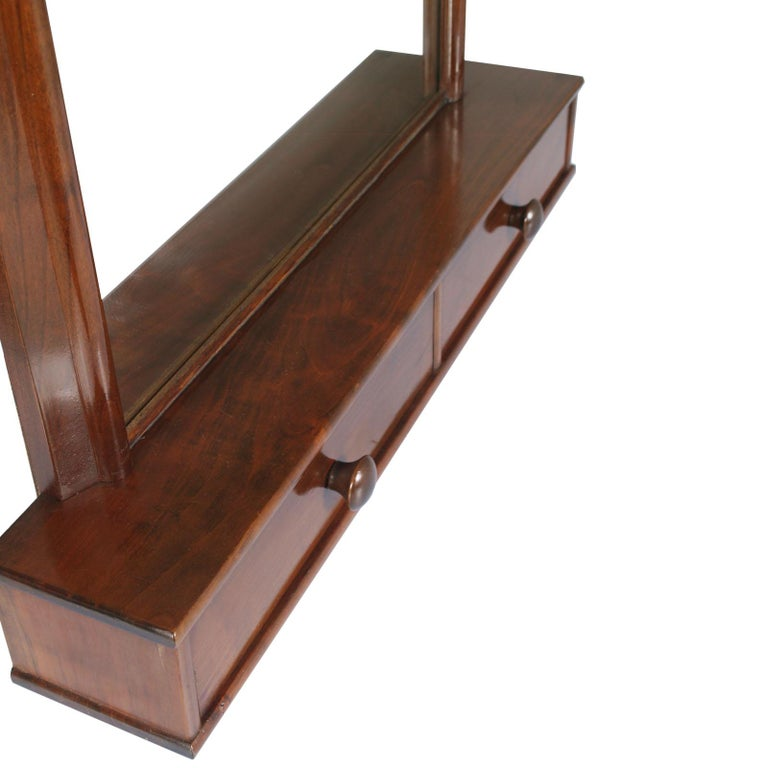 Italian Art Deco Mirror Dressing Table, Psyche Mirror in Walnut with Two Drawers In Good Condition For Sale In Vigonza, Padua