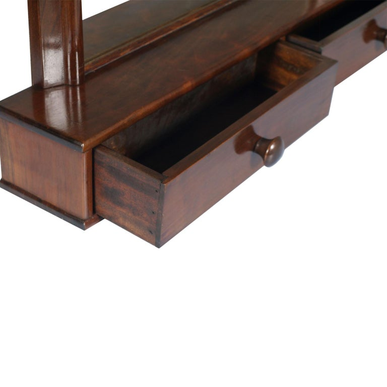 20th Century Italian Art Deco Mirror Dressing Table, Psyche Mirror in Walnut with Two Drawers For Sale