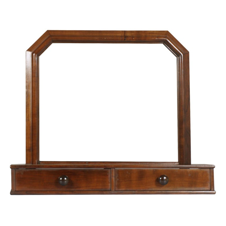Italian Art Deco Mirror Dressing Table, Psyche Mirror in Walnut with Two Drawers For Sale 2
