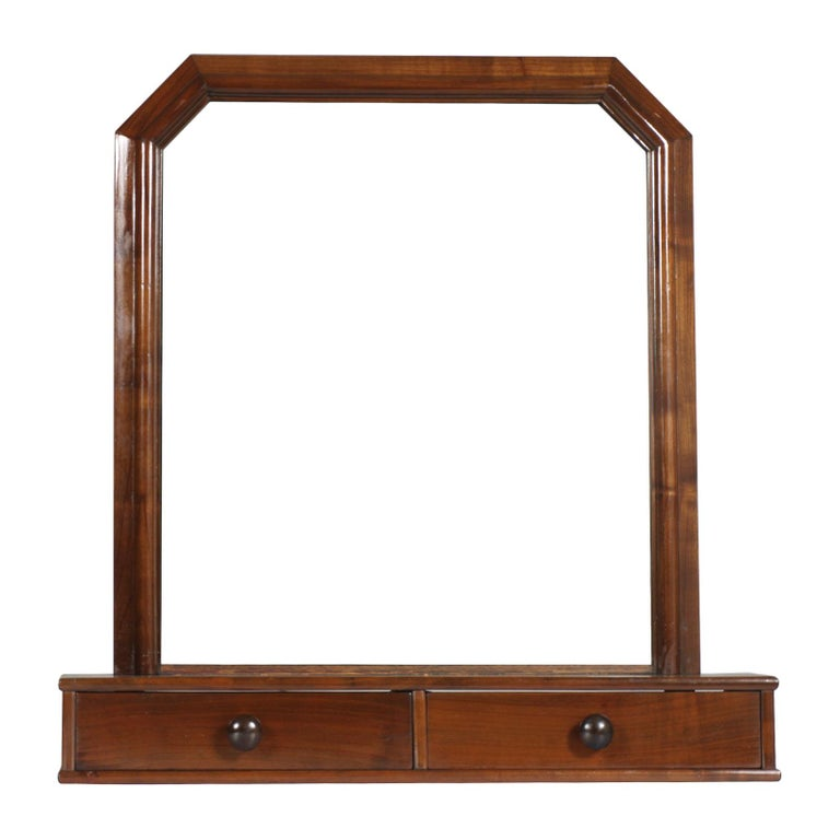 Italian Art Deco Mirror Dressing Table, Psyche Mirror in Walnut with Two Drawers For Sale 4