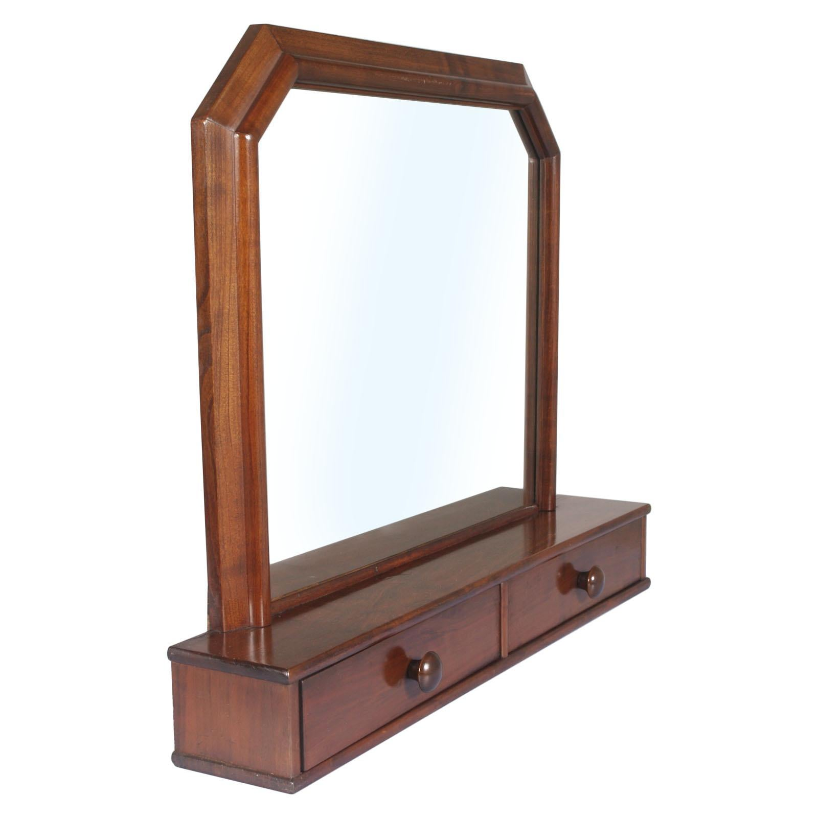 Italian Art Deco Mirror Dressing Table, Psyche Mirror in Walnut with Two Drawers