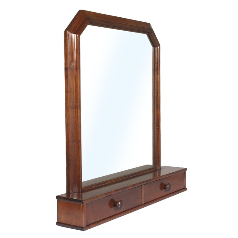 Italian Art Deco Mirror Dressing Table, Psyche Mirror in Walnut with Two Drawers For Sale