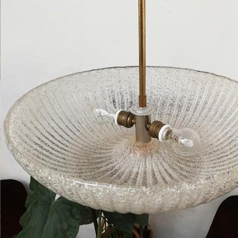 Italian Art Deco Murano Glass and Brass Chandelier, 1940s 6