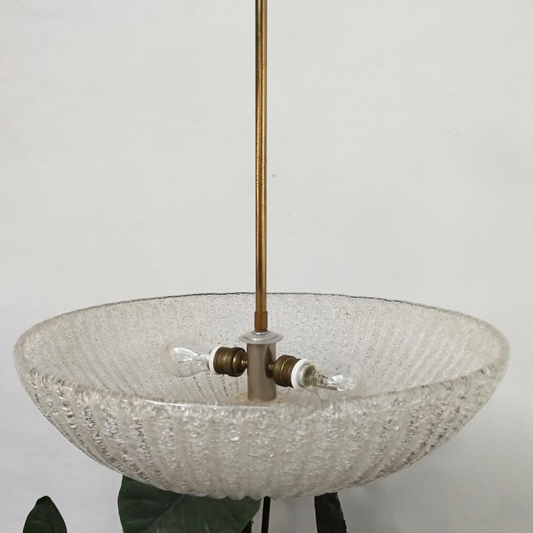 Italian Art Deco Murano Glass and Brass Chandelier, 1940s 7