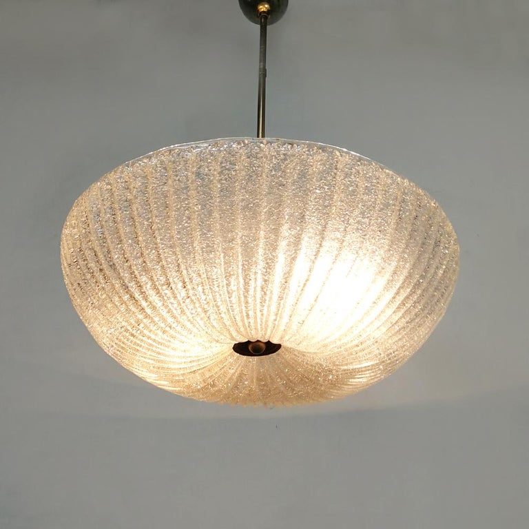 Italian Art Deco Murano Glass and Brass Chandelier, 1940s In Good Condition In MIlano, IT