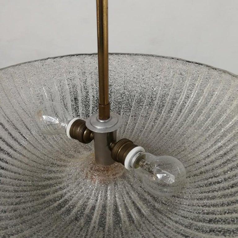 Italian Art Deco Murano Glass and Brass Chandelier, 1940s 5