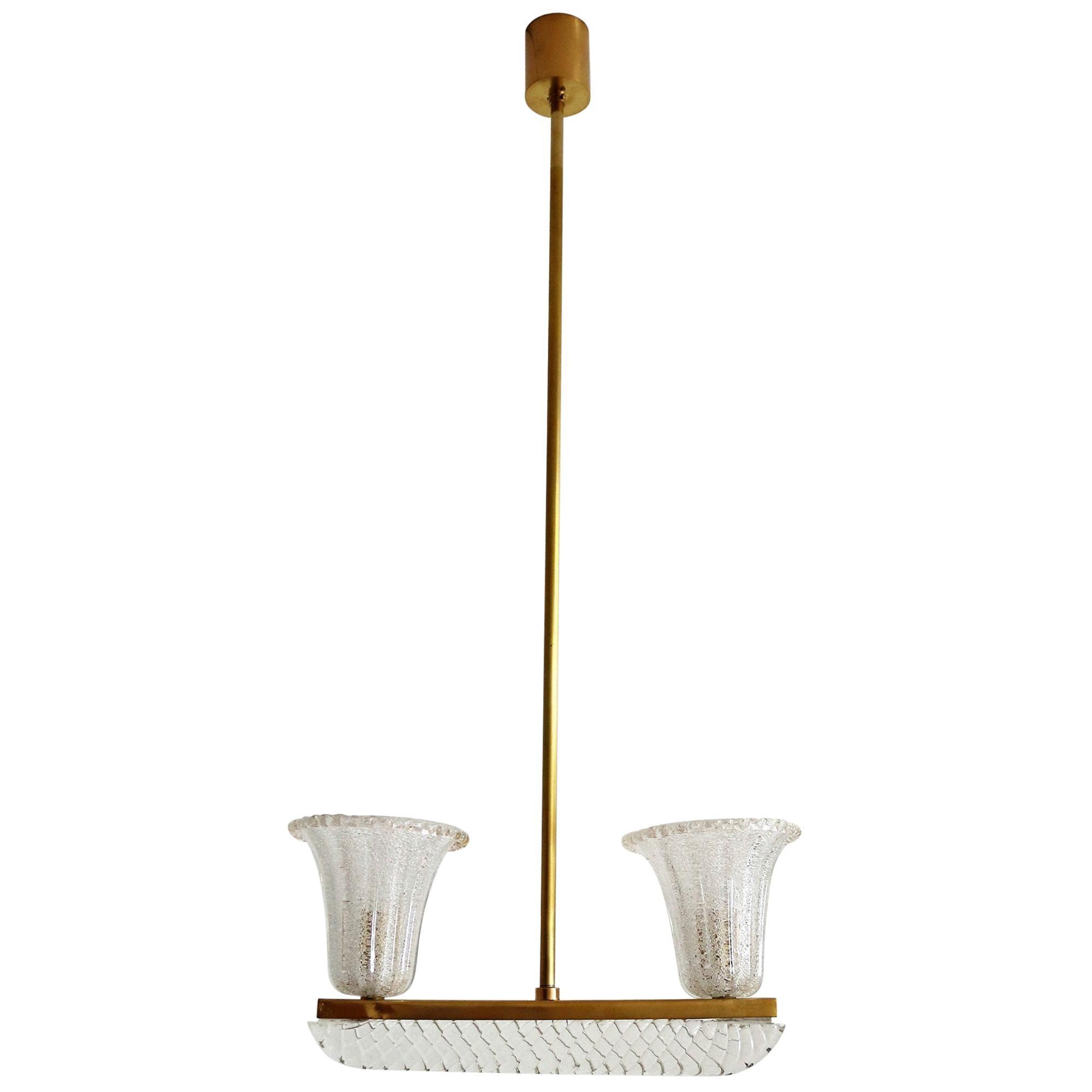 Italian Art Deco Murano Glass and Brass Pendant Light by Barovier & Toso, 1940s