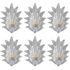 Ten Art Deco Leaf Sconces by Barovier e Toso