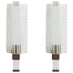 Venini Mod. 418 Murano Glass Leaf Sconces, Italy 1930s