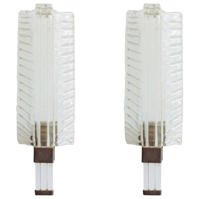 Venini Murano glass leaf sconces, 1930s, offered by SG Gallery Milanno