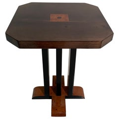 Italian Art Deco Myrtle Wood and Parchment Side Table