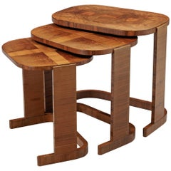 Italian Art Deco Nesting Tables in Walnut