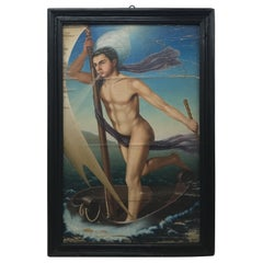 """Italian Art Deco Painting on Wood """"Aeolus"""", circa 1930"""
