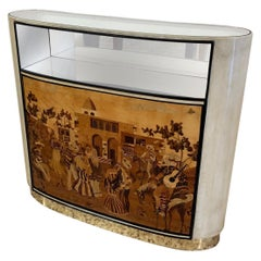 Italian Art Deco Parchment and Inlaid Cabinet by Vittorio Dassi, 1940s