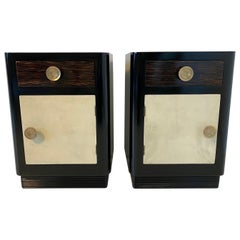 Italian Art Deco Parchment and Palm Wood Nightstands, 1930s